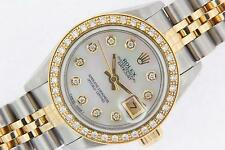 Rolex Datejust Ladies Steel & Gold Pearl Diamond Watch Automatic Box & Papers