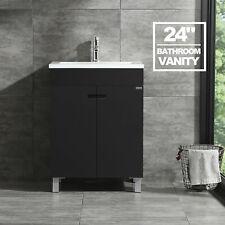 24' Bathroom Vanity Cabinet Black w/ Undermount Sink w/Faucet Modern Design