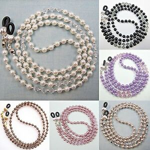 Pearl Crystal Eyeglass Glasses Sunglasses Spectacles Holder Cord Chain Strap