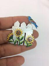 Cute Zarah Sterling Silver 925 Purple Enamel Bird Sunflower Pin Brooch
