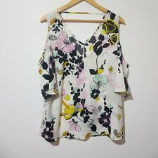 City Chic Size XS / 14 White Floral Off Shoulder Blouse Top