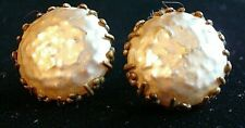 Vintage Miriam Haskell Faux Baroque Pearl Gold Tone Clip On Earrings Signed