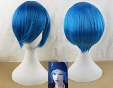 New Life is Strange Chloe Price Short Blue Cosplay costume wig+wig cap+Track No.