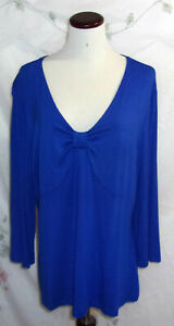 Covington Womens Size  XL Blue Empire Waist Pullover Top 3/4 Sleeve V Neck