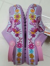 NWT CROCS Kids' Crocband Butterfly Clog Size J1  1- IRIS PURPLE