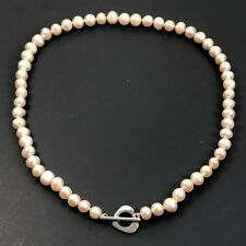 Pearl Choker Necklace Pink Fresh Water Pearls Strand Natural 5mm