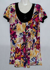 Great Pre Loved - Plus Size XL - PINK/PURPLE/YELLOW/BLUE Short Sleeve Blouse