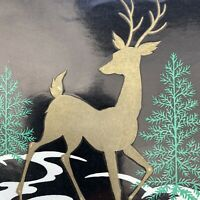 Vintage Mid Century Christmas Greeting Card Gold Deer Black Background Tree
