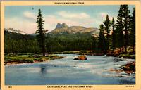 Vintage 1930's Cathedral Mountain Peak Tuolumne River California CA Postcard