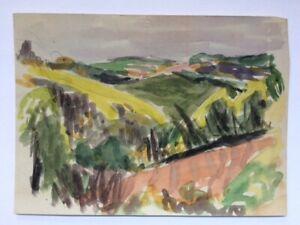 Harlan Hubbard art: original watercolor; Spring Colors - Hillsides & Fields