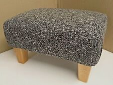 Footstool In A Grey Metal Fabric With Solid Wood Legs British Made