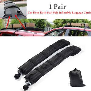 Pair Car Roof Rack Self Inflatable Luggage Carrier w/Rope Black Universal Kit