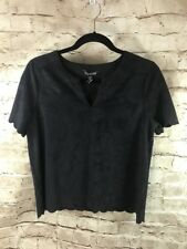 Express Black Faux Suede Scalloped V neck Top Size Medium NEW Retails $29. A25