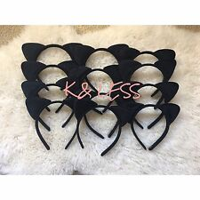 12pcs All Black Kitty Cat Ears Headband Costume Party Favor Girls Adults Recuerd