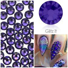 Swarovski X 50 Mixed Size Purple Velvet Glue on Crystals Rhinestones Nail Art