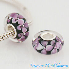Pink Flower Black Lampwork Murano Glass 925 Sterling Silver European Bead Charm