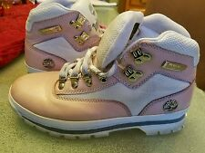 TIMBERLAND WOMANS PINK/ WHITE LEATHER ANKLE BOOTS, SIZE 8.5 M