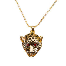 Leopards Head Crystal Pendant Necklace 18K Rose Gold Plated (H52/4)