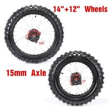 Front +Rear Rim Tyre Tire 80/100-12 15mm+ Axle 60/100-14 PIT Trail Dirt bike US