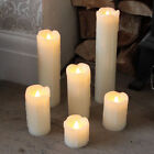 SET OF 6 BATTERY OPERATED PILLAR WEDDING DRIPPING REAL WAX LED CANDLE LIGHTS