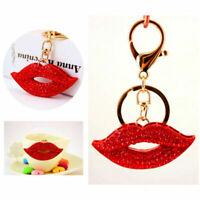 1pcs Red Lip Rhinestone Keychain Charm Fashion Decoration Car Keyring Keychain