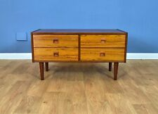 Mid Century Retro Danish Rosewood Low TV Stand Sideboard Chest of 4 Drawers 70s
