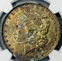 1884-O MORGAN SILVER DOLLAR BU NGC MS63 COLOR TONED WITH LUSTER IN HIGH GRADE