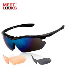 Meetlocks Sports Sunglasses Cycling Sports Glasses Goggles 3 Lens Uv 400 for Men