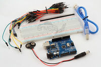 Arduino Uno Starter Kit 830 Point Breadboard, 65 Jumpers, USB & Battery Cables