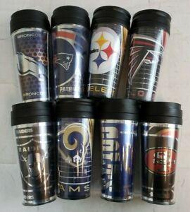 U-Pick NFL Team 14oz Team Travel Tumbler Acrylic Coffee Mug Cup No Spill Lid A43