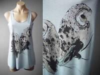 Pastel Blue Pygmy Barn Owl Bird Graphic Racer Back Tank Top 124 mv Shirt S M L