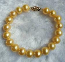 "Beautiful 7.5-8"" AAA 9-10mm real natural South Sea Gold pearl bracelet 14k gold"