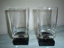 DiSaronno Black Square Footed Rocks/Cordial Bar Glasses Set Of 2 Excellent