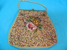VINTAGE SOURE BEAD GEMS YARN METAL LEAVES FLOWER BAG PURSE