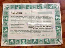 Rolex Warranty Paper Garantie Rolex white open