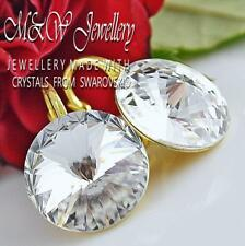 Gold Plated 925 Silver Earrings Crystals From Swarovski® 14mm RIVOLI  - Crystal
