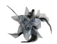 Fleur en tissus grise N°7, accessoire de mariage