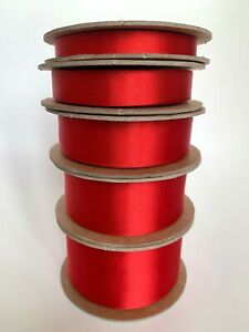 100% Recycled Red Satin Ribbon Christmas Wedding Cake - sold by the metre
