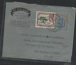 BRITISH GUIANA   (PP0103B)   1966 QEII 12C AEROGRAM UPRATED GUYANA 3C TO USA