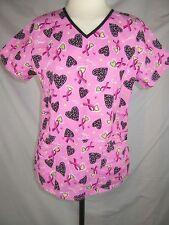 Scrubstar Women's Medical/Nursing Scrub Top Pink V Neck Size Small 100% Cotton
