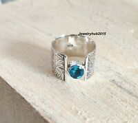 Blue Topaz Solid 925 Sterling Silver Ring Handmade Ring Band Ring All Size a8