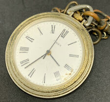 Timed Pocket Watch Pendant Vintage With Chain Roman Numerals Ticking F2381