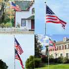25Ft Sectional Flagpole Kit W/ 1pc US Flags Outdoor Aluminum Halyard Pole USA
