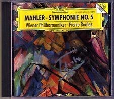 Pierre Boulez firmato MAHLER SYMPHONY NO. 5 DG CD Filarmonica di Vienna
