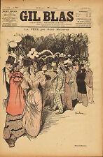 gil blas - stone - lithograph - la fete .par rene maizeroy  .stenilen  1893