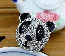 Eye catching silver tone big crystal panda ring