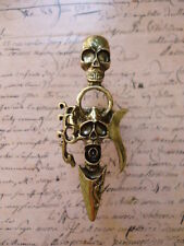 Vintage Bronze Gothic Goth Decorative Sword Skull Jewellery Adjustable Ring