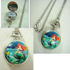 Princess Ariel Little Mermaid Girl Child Fashion Pocket Watch Necklace FREE SHIP