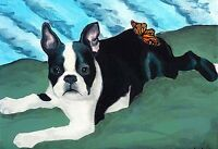 13x19 BOSTON TERRIER & BUTTERFLY Dog Art PRINT of Original Oil Painting by VERN