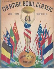 1945 Orange Bowl football program Tulsa vs Georgia Tech @ Miami, Florida EX